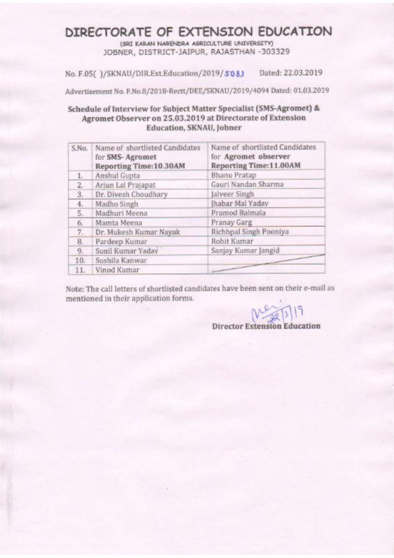 Schedule of interview for SMS-Agromet & Agromet Observer on 25 03 2019